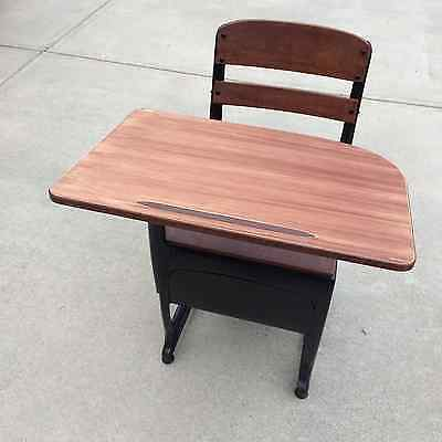Vintage / Antique School Student Child Desk / Chair with Cubby
