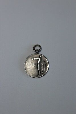 Silver watch fob/ Swimming Medalion