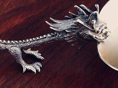 - RARE LUEN WO CHINESE EXPORT STERLING SILVER DRAGON SPOON SHANGHAI c. 1900