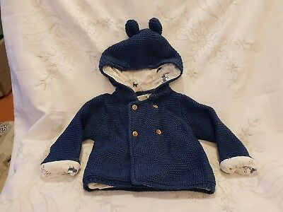M&S Marks & Spencer Blue Knitted Jacket With Ears Dogs 3-6 Months New No Tags