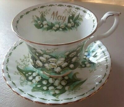 ROYAL ALBERT Tea Cup and Saucer Flower Of The Month May Lily Of The Valley