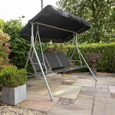 3 Seater Swinging Chair Outdoor Garden Patio Metal Hammock Bench Canopy Wido