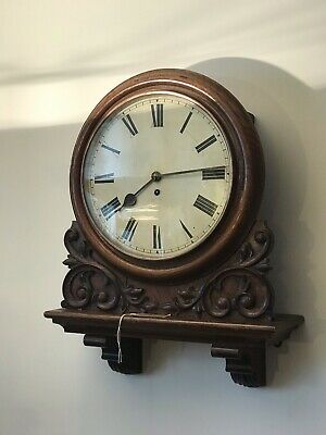 Victorian Oak Railway Gallery Clock Fusee Movement Large