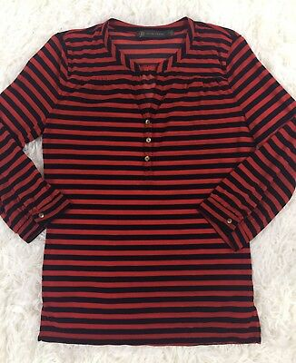 The Limited Outback Red Blue Striped Sheer Blouse 3/4 Sleeve Size Small