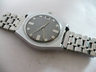 SHARP~CLEAN!~VTG~HELBROS 17j MENS AUTOMATIC WRISTWATCH-SLATE GRAY DIAL~1970's