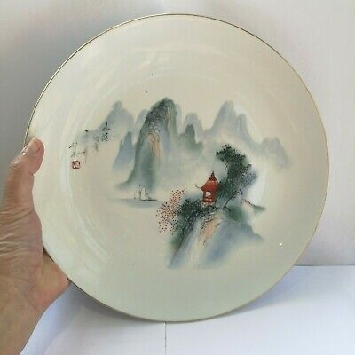 A Fine Chinese Porcelain Plate Painted with China Jingdezen Scene - Signed
