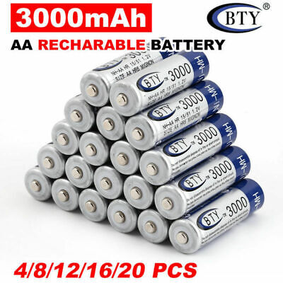 4-20pcs 3000mAh BTY AA Rechargeable Battery Recharge Batteries NI-MH 1.2V