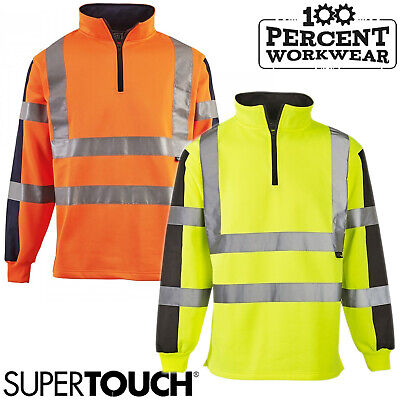 Supertouch High Visibility Polycotton Rugby Sweatshirt Top Pullover 1/4 Zip New