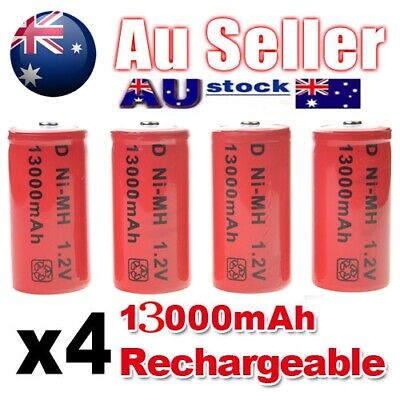 4x 13000mah D Size NI-MH Rechargeable Cell Battery 13000-mah NIMH Batteries 1.2V