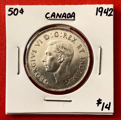 1942 Canada 50 Cent Coin Fifty Silver Half Dollar - $14 Nice Shape