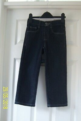 Boys Dark Blue Indigo Jeans 4 - 5 Years Adjustable Waist, Pockets George Bnwot