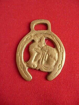 Horse Brass Horses Head in a Lucky Horse Shoe Miniature Pony Size. No 1