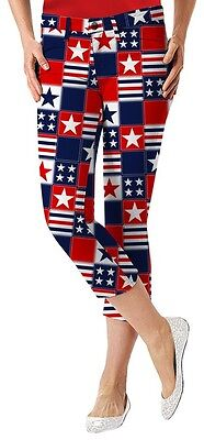 Loudmouth golf women capri pants BETSY ROSS red white blue 3190