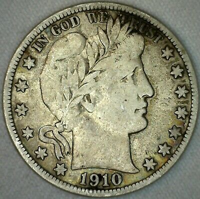 1910 S Barber Half Dollar Silver US Type Coin Fifty Cent 50 Cents Fine K7