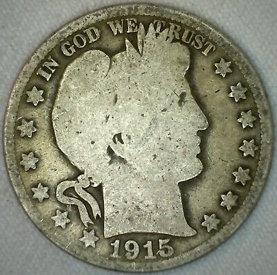 1915 S Barber Half Dollar Silver US Type Coin Fifty Cent 50 Cents AG K8