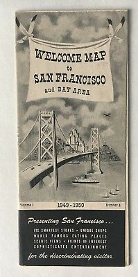 Vintage 1949 Welcome Map San Francisco and Bay Area foldout illustrated brochure
