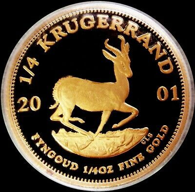 2001 Gold South Africa 1/4 Oz Krugerrand Coin Gem Proof Condition
