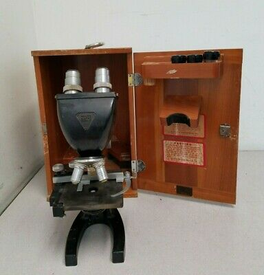 Vintage Bausch and Lomb 16033-185 Microscope with 3 Objectives