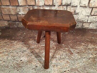 Vintage Rustic Old French Solid Wooden 3 Leg Milking Stool Plant Stand Hand Made