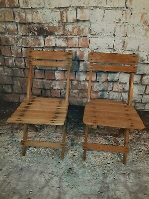 Vintage Old 1940's Folding Wooden Childrens Fishing Deck Chair Seat Dolls Stand