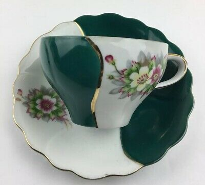 Vintage Ucagco Bone China Tea Cup and Saucer Japan Color Block Teal Gold Trim
