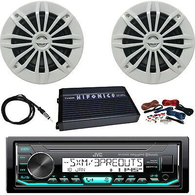 "JVC KD-X35MBS Receiver, 4 x 6.5"" Speakers (White), Amplifier, Amp Kit, Antenna"