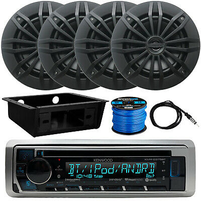 "Kenwood KMR-D375BT Receiver, 4 x 6.5"" Speakers, Dash Kit, Antenna, Speaker Wire"