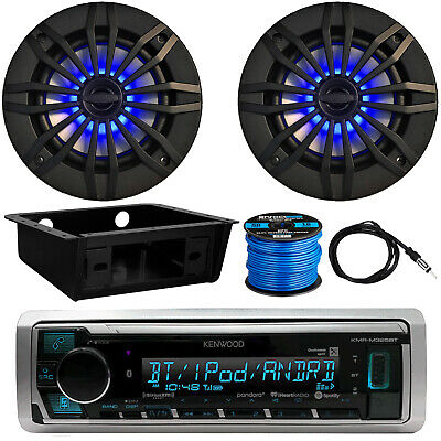 "Kenwood KMR-M325BT Radio, 2 x 6.5"" LED Speakers, Dash Kit, Antenna, Speaker Wire"