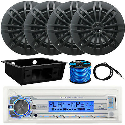 "Dual Marine Receiver, 4 x 6.5"" Speakers, Dash Kit, Antenna, Speaker Wire"