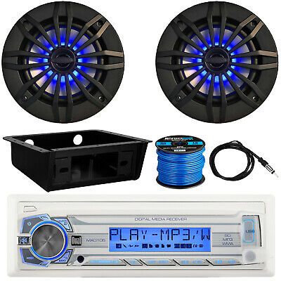 "Dual Marine Receiver, 2 x 6.5"" LED Speakers, Dash Kit, Antenna, Speaker Wire"