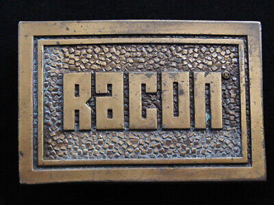 RF07115 VINTAGE 1970s **RACON** COMPANY ADVERTISEMENT BELT BUCKLE