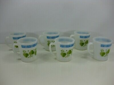 Set of 6 Vintage Fire King Milk Glass Mugs Leaves and Dots