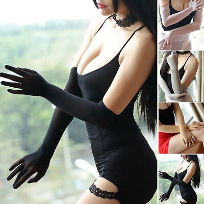 Seamless Sheer Long Evening Gloves Theater Dancer Costume Spandex Bridal Beauty