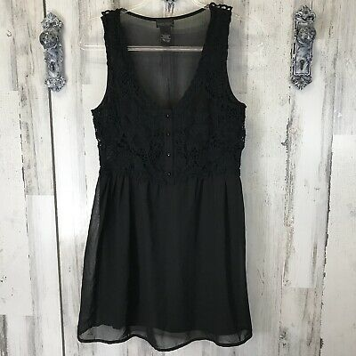 Wet Seal Black Sheer Size Medium Lace Button Up Sleeveless Dress