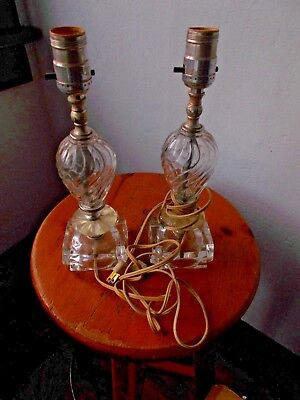 Pair of Vintage 1940's Retro Clear Swirl Desk or Table Lamps!