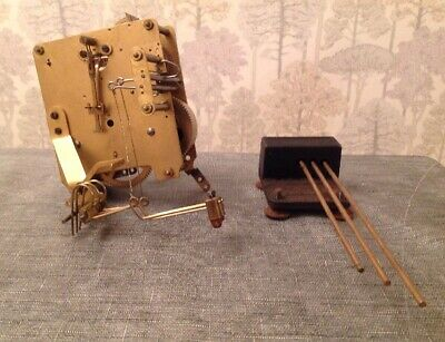 Antique Clock Movement Chiming 3 Hammer Chime And Gong 10x9cm Plates Untested