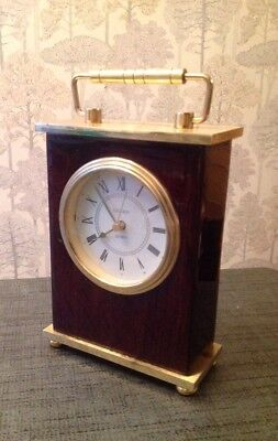 Vintage Linden Quartz Brass Carriage Clock Wood & Brass Heavy And Solid Working