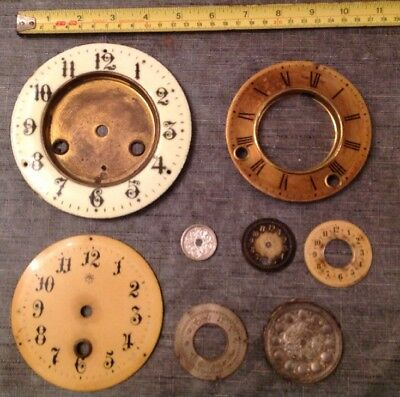 Antique Clock Dials Faces 3 Enamel Top Left Brass Alarm Centres Spare Parts