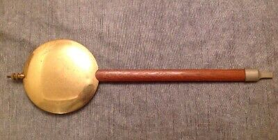 Antique Wall Clock Pendulum 891g Brass Face 140mm Wood Rod 490mm Long