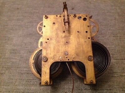 Antique Clock Movement Gilbert USA  Chiming 9x13cm Plates Untested