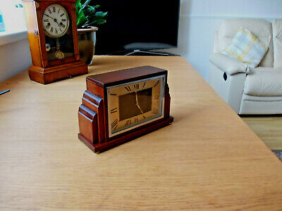 Vintage 1930s Art Deco Mantle Clock Case working