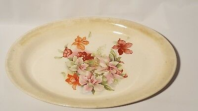 "Orchids Flowers China Large Platter 16"" x 10""  Homer Laughlin Empress Antique"