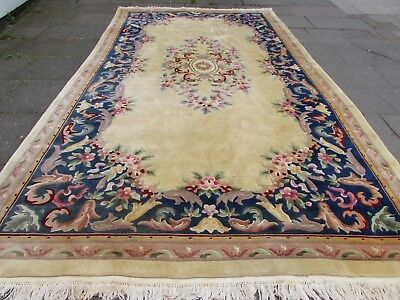 Old Hand Made Art Deco Chinese Oriental Gold Blue Wool Long Carpet 450x252cm
