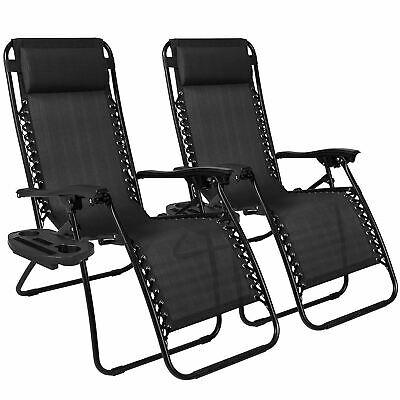 2X Outdoor Folding Zero Gravity Chair Lounge Beach Patio Recliner Adjustable UK