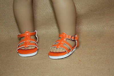 Doll Shoes fitting 18 in & American Girl Dolls Orange Strappy Sandals NEW!
