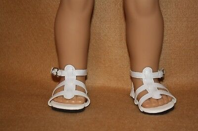 Doll Shoes fitting 18 in American Girl Dolls White Strappy Sandals
