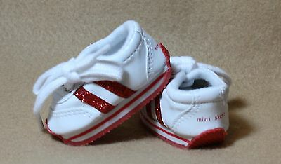 Doll Clothes fitting 18 in American Girl Doll Sparkling White & Red Tennis Shoes