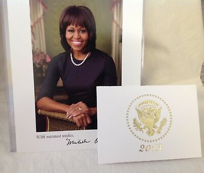 2013 OBAMA WHITE HOUSE CHRISTMAS Pop Up CARD +  FIRST LADY PHOTOGRAPH