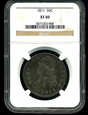 1811 50C Small 8 Capped Bust Half Dollar XF40 NGC 3671263-008
