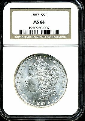 1887 $1 Morgan Silver Dollar MS64 NGC 1920930-007